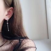 925銀耳針ins耳環簡約時尚百搭正韓耳墜五角星月亮長款耳釘學生