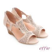 effie 嬉皮假期 羊皮小坡跟波西米亞楔型涼鞋 米