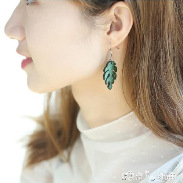 耳環 綠色簡約耳環女氣質韓國個性百搭耳墜女 耳環女純銀耳飾 「潔思米」