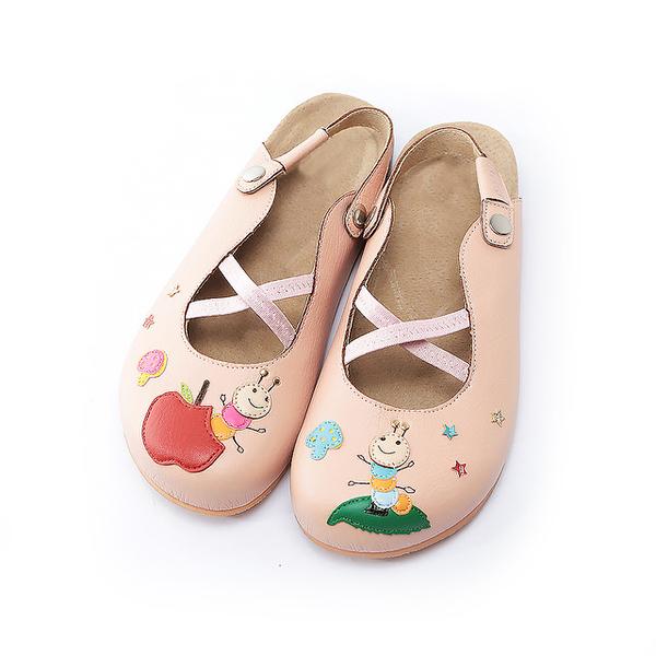 【Jingle】蘋果咬一口前包後空軟木休閒鞋(甜美粉大人款)