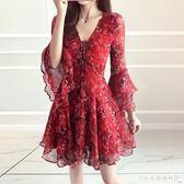 沙灘裙 短裙波西米亞顯瘦碎花裙海邊度假雪紡 洋裝女夏 『CR水晶鞋坊』