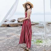 限時38折 韓國風復古系帶吊帶開叉露背無袖洋裝