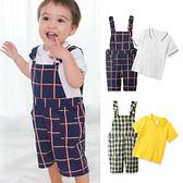 男寶寶 套裝 格紋吊帶褲 連身衣 純棉 短袖 POLO領上衣 爬服 哈衣 2件套 Augelute Baby 61038