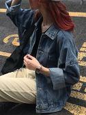 港風長袖原宿寬鬆牛仔外套女秋季2018新款韓版短款學生夾克牛仔衣