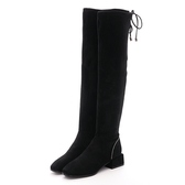 MICHELLE PARK 絕美模範霧面綁帶水鑽方跟及膝靴黑
