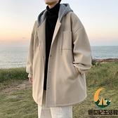 中長款毛呢大衣男寬鬆風衣假兩件外套【創世紀生活館】