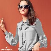 【SHOWCASE】名媛綁帶領結蕾絲袖襯衫(灰)
