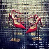 紅色高跟鞋細跟2018新款一字扣帶尖頭綁帶女單鞋羅馬鞋   良品鋪子