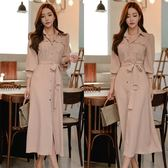 精選38折 韓國學院風收腰純色襯衣氣質長袖洋裝