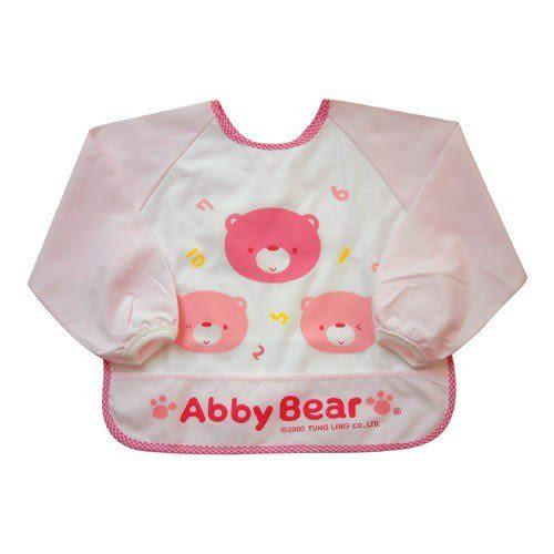 【奇買親子購物網】艾比熊長袖餵食圍兜(藍色/粉色)