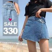 SISI【P8028】現貨百搭顯腿長單寧牛仔半身短裙牛仔褲裙短褲