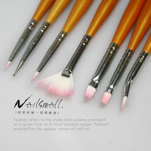 彩繪筆組//// 金色凝膠筆7支入凝膠筆 平刷凝膠筆 美甲筆 平口 圓頭 平排《NailsMall》