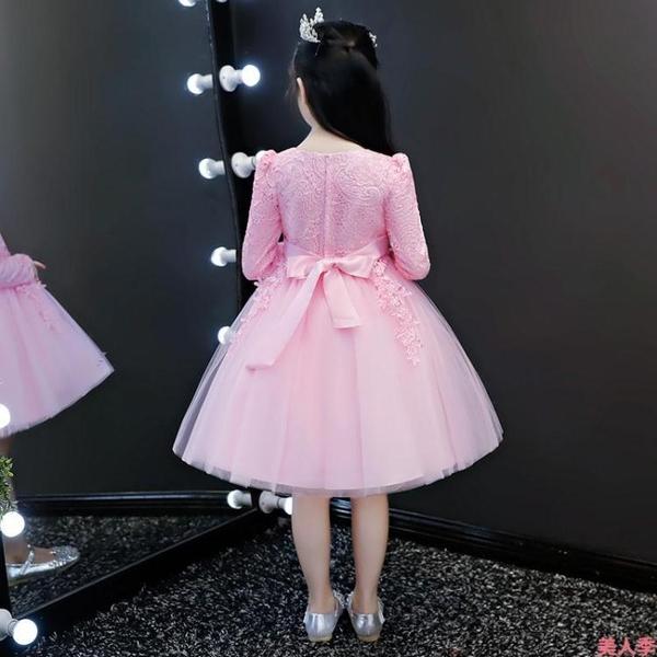 女童洋裝公主裙女童秋冬裝新款兒童加絨連衣裙小女孩洋氣蓬蓬紗禮服冬裙子