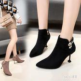 裸靴 尖頭女秋冬季新款百搭裸靴時尚加絨高跟鞋細跟貓跟鞋 df8165【Sweet家居】
