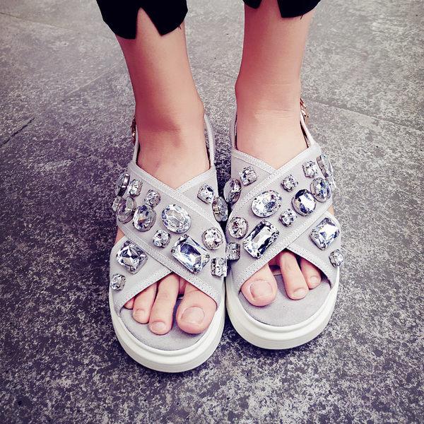 丁果、大尺碼女鞋33-43►牛皮絨面寶石楔形涼鞋*2色