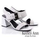 ★2019春夏★Keeley Ann簡約一字帶 歐美方頭大飾釦粗跟涼鞋(白色) -Ann系列