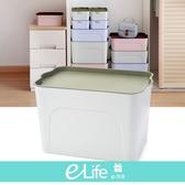 【快速出貨】大盒-日式無印風萬用桌上收納箱  收納箱 大容量 衣服  【e-Life】