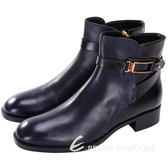 TOD'S 金屬方框設計牛皮短靴(深藍x黑色) 1510377-80