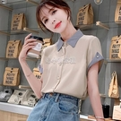 拼色短袖雪紡襯衫女氣質2021新款夏季韓版寬鬆洋氣上衣polo小衫仙 快速出貨