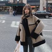 羊羔絨外套-短版皮毛一體寬鬆拼接女夾克3色73yr5【巴黎精品】