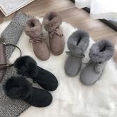 皮質雪地靴 女2019冬季新款加絨加厚短靴防滑保暖棉鞋時尚短筒棉靴 BT14406【大尺碼女王】
