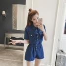 2021年新款韓版寬鬆工裝連身褲女夏季休閒襯衣領顯瘦連衣闊腿短褲 蘿莉館品