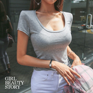 SISI【T9002】現貨性感百搭大U型低領爆乳緊身顯瘦素色短袖T恤上衣