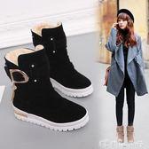 中筒靴 雪地靴女秋冬保暖厚底短靴加厚棉鞋防滑中筒平底流蘇靴子  潔思米