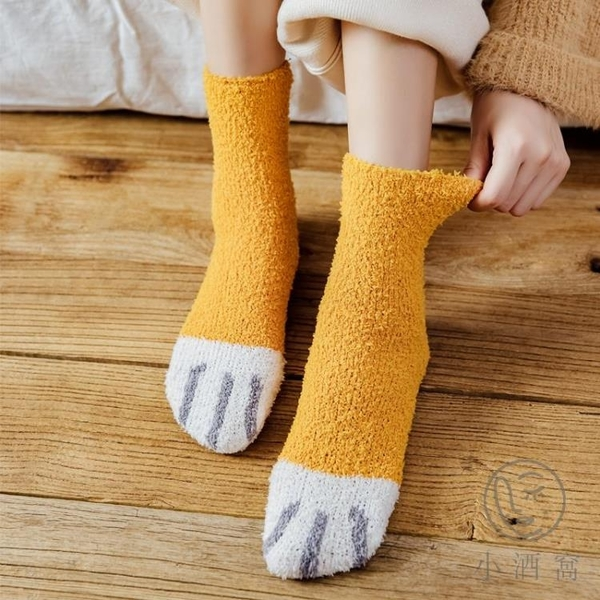 買1送3 珊瑚絨襪子女日系可愛甜美貓爪子中筒襪秋冬加厚保暖百搭家居女襪【小酒窩服飾】