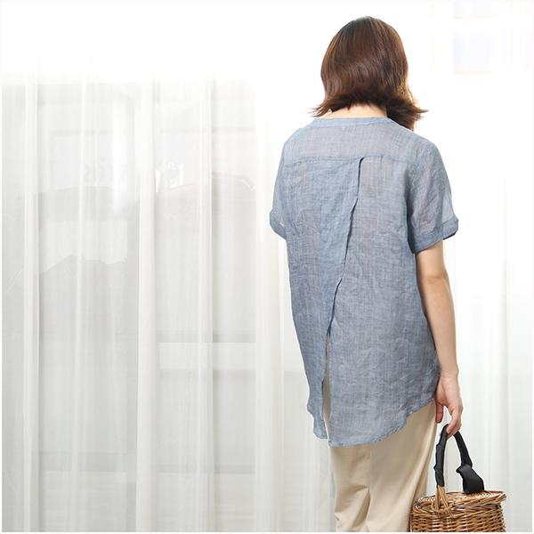 [超豐國際] Z 陌雨。文藝色系  寬松后開衩 短袖 麻襯衫