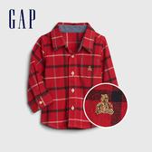 Gap男嬰小熊刺繡胸袋長袖襯衫524380-摩登紅色