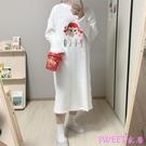 已保護趣味少女可愛卡通女孩刺繡毛茸法蘭絨睡裙睡衣保暖韓國『Sweet家居』
