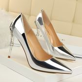 性感金屬跟女鞋細跟高跟淺口尖頭漆皮顯瘦單鞋 迪澳安娜
