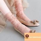 2雙 蕾絲水晶堆堆襪花邊長襪子女中筒襪薄款網紗透明日系【小獅子】