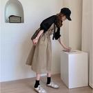 漂亮小媽咪 韓系 兩件式 吊帶洋裝【DS...