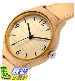 [美國直購] Tamlee Women s 女士手錶 Bamboo Wood Quartz Soft Leather Strap Watch