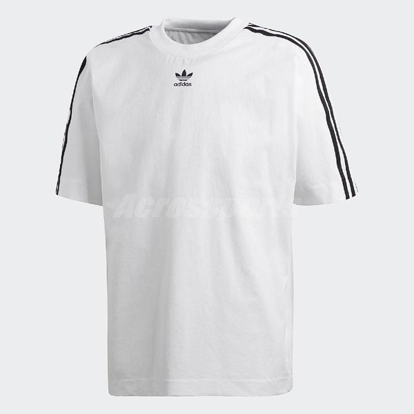 adidas 短袖T恤 Warm Up T-Shirt 白 黑 男款 三條線 衣袖寬鬆 【PUMP306】 CW1217