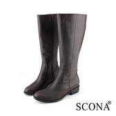 SCONA 蘇格南 全真皮 經典簡約率性長靴 咖啡色 8784-2
