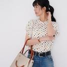 【慢。生活】荷葉袖印花垂墜女式襯衫-彩色點點 33664  FREE 白色