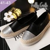 大尺碼女鞋-凱莉密碼-時尚拼接明星款草編漁夫鞋懶人鞋平底鞋2cm(41-43)【BW1582】黑色