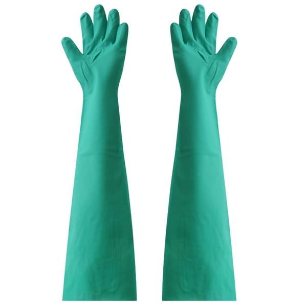 洗車手套 耐用耐穿刺加長66cm到肩膀丁腈耐酸堿洗車洗碗洗衣橡膠手套免運