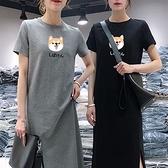 小柴犬印花下襬開衩洋裝-中大尺碼 獨具衣格 J3642