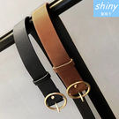 【V1560】shiny藍格子-經典百搭.圓形金屬PU寬腰扣式皮帶