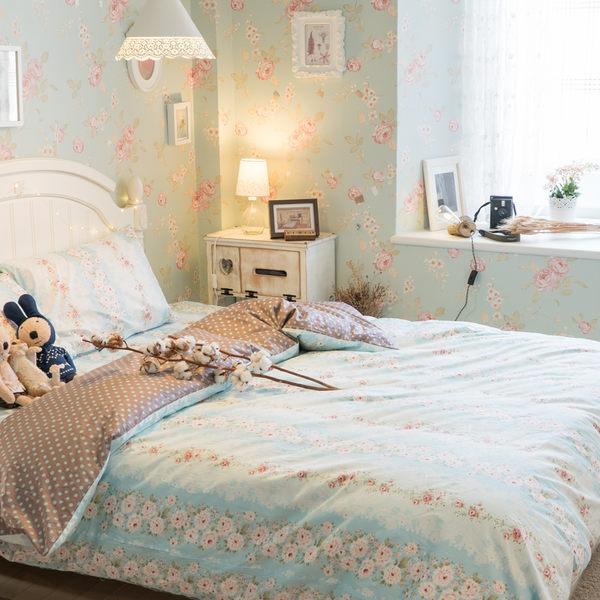 藍色玫瑰與蕾絲 D1 雙人床包3件組  100%精梳棉  台灣製