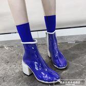透明靴子女夏2018新款短靴高跟鞋chic馬丁靴女英倫風春秋『韓女王』