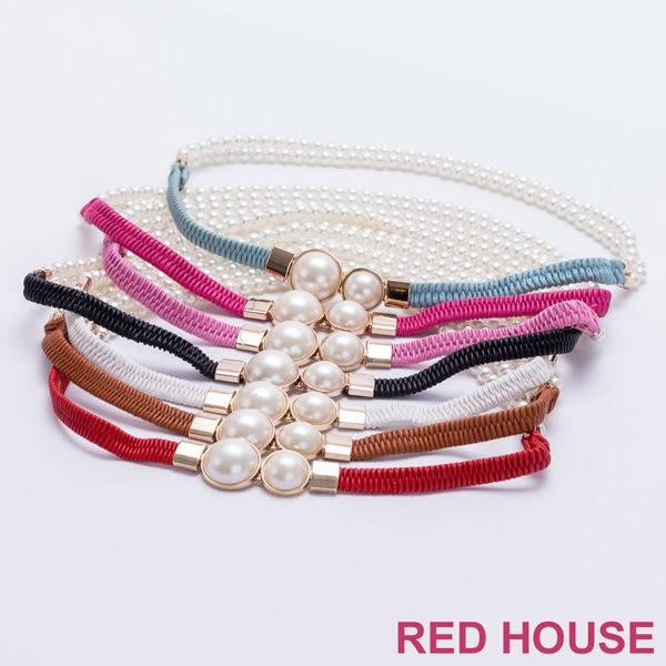 RED HOUSE-蕾赫斯-大小珍珠彈性腰帶(共7色)