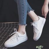 厚底鞋 秋季新品夏款小白鞋女帆布鞋正韓學生百搭厚底白色板鞋【快速出貨】