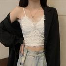 法式蕾絲白色吊帶背心女內搭夏季設計感小眾辣妹外穿抹胸上衣ins