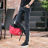 秋季新款彈力男士牛仔直筒褲男休閒修身窄管褲韓式潮流黑色直筒褲子男 最後一天85折