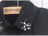 假領子假領片  雪紡紗蝴蝶寶石款襯衫 韓版百搭外套針織衫洋裝[E1132] 黑色白色預購.朵曼堤洋行